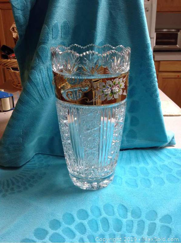 Murano Crystal Hand Painted Vase
