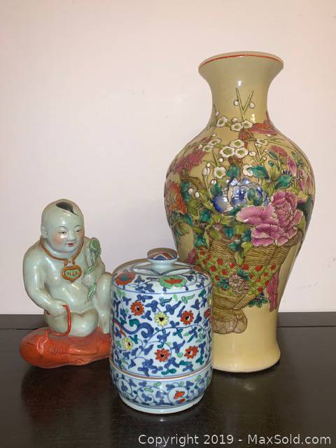 Chinese Vase, Statue And Incense Holder