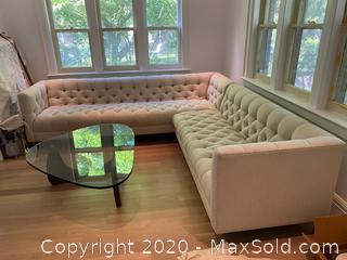 Oatmeal herringbone cotton tufted Sectional Sofa