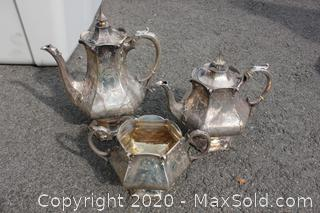 Two Silver Plate Tea Pots And Dish